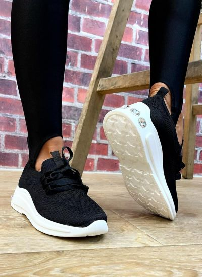 STRETCH SNEAKERS WITH ZIRCONS - BLACK