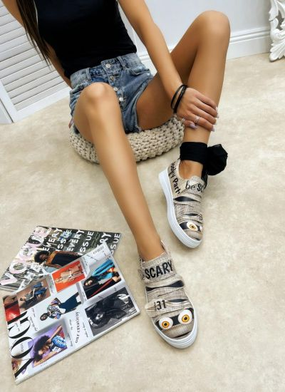 SCARY VECRO BAND SNEAKERS - BEIGE