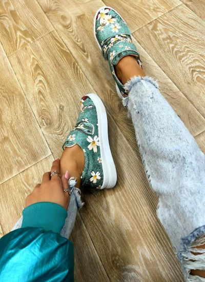 FLOWER PRINT SNEAKERS WITH VECRO BAND - MINT