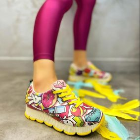 LACE UP PRINTED SNEAKERS - YELLOW/PINK