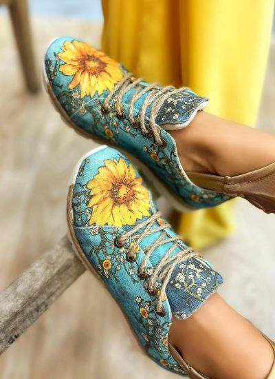 FLOWER PRINT JUTA SNEAKERS - MINT