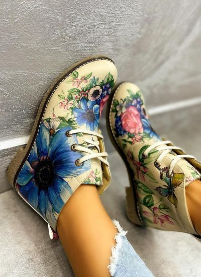 SHOES WITH FLOWER PRINT - BEIGE