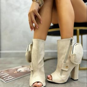 VELOUR OPEN TOE ANKLE BOOTS WITH ZIPPER - BEIGE
