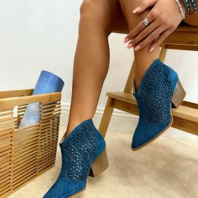 VELOUR THICK HEEL HOLLOW ANKLE BOOTS - BLUE