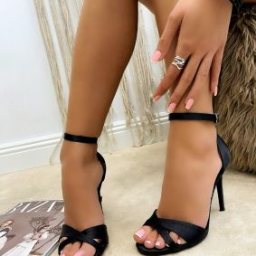 SATIN THIN HEEL SANDALS - BLACK