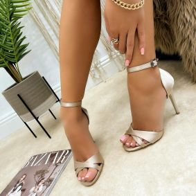 SATIN THIN HEEL SANDALS - GOLD