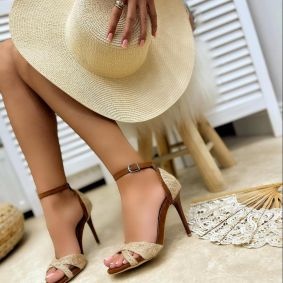 VELOUR THIN HEEL SANDALS - BROWN