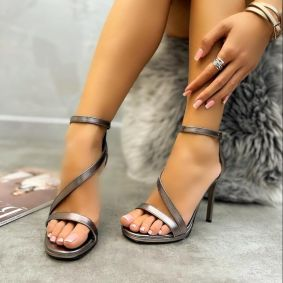 THIN HEEL SANDALS WITH BELT - GRAPHITE