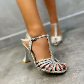 KNITTED THIN HEEL SANDALS - SILVER