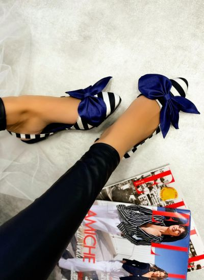 STRIPED FLATS WITH PURPLE BOW - BLACK/WHITE