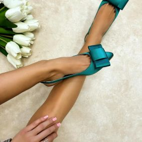 SATIN SANDALS WITH BOW - GREEN
