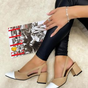 THICK HEEL SANDALS - BEIGE/WHITE