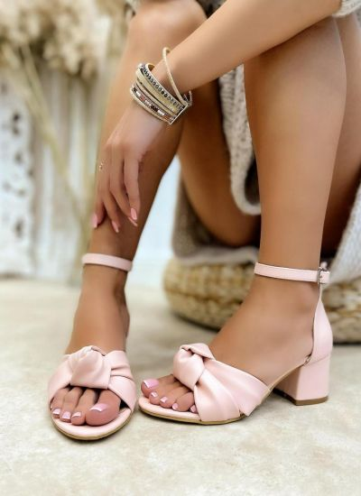 THICK HEEL SANDALS WITH BOW - ROSE