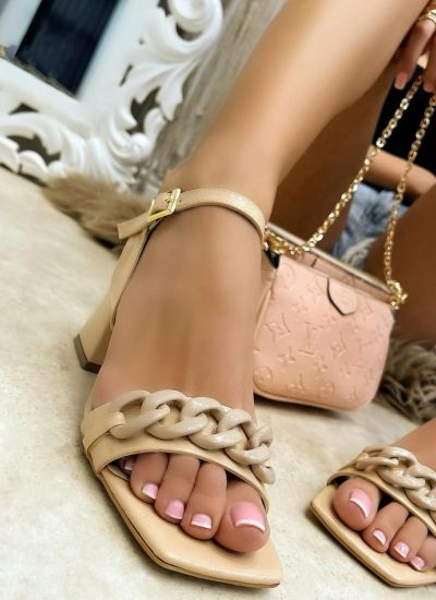 THICK HEEL SANDALS WITH CHAIN - BEIGE