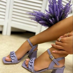 THICK HEEL SANDALS WITH CHAIN - PURPLE