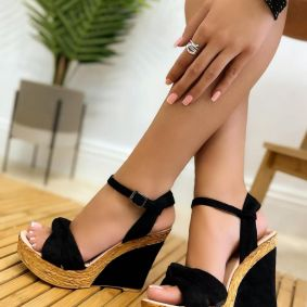 VELOUR WEDGE SANDALS - BLACK
