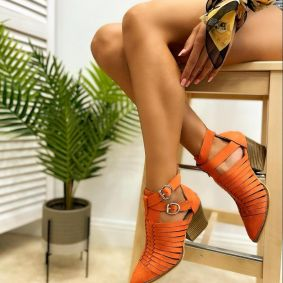 VELOUR ANKLE BOOTS WITH BLOCK HEEL - ORANGE