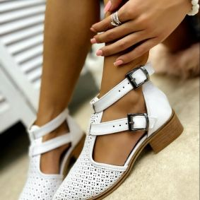 OPEN ANKLE BOOTS WITH BELT - WHITE