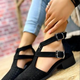 VELOUR OPEN ANKLE BOOTS WITH BELT - BLACK