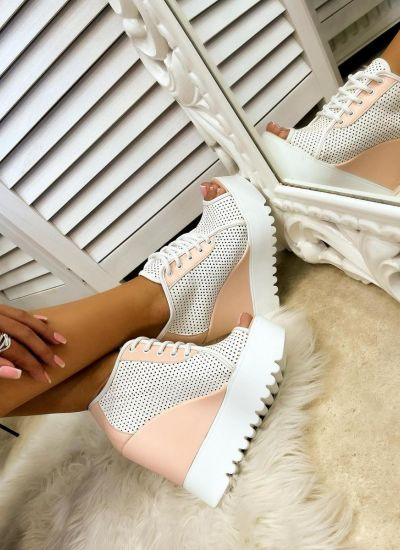 HOLLOW WEDGE SHOES - WHITE/ROSE