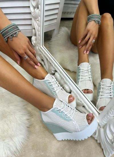 HOLLOW WEDGE SHOES - WHITE/MINT