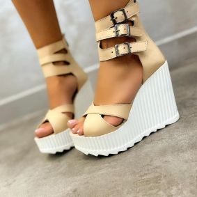 WEDGE SANDALS WITH BELTS - BEIGE