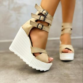 VELOUR WEDGE SANDALS WITH BELT - BEIGE