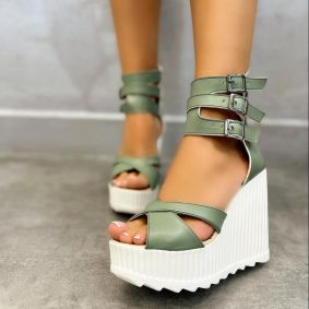 WEDGE SANDALS WITH BELTS - GREEN
