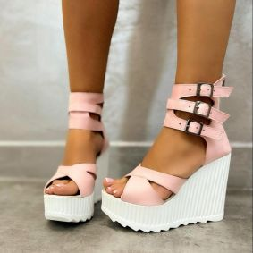 VELOUR WEDGE SANDALS WITH BELTS - ROSE