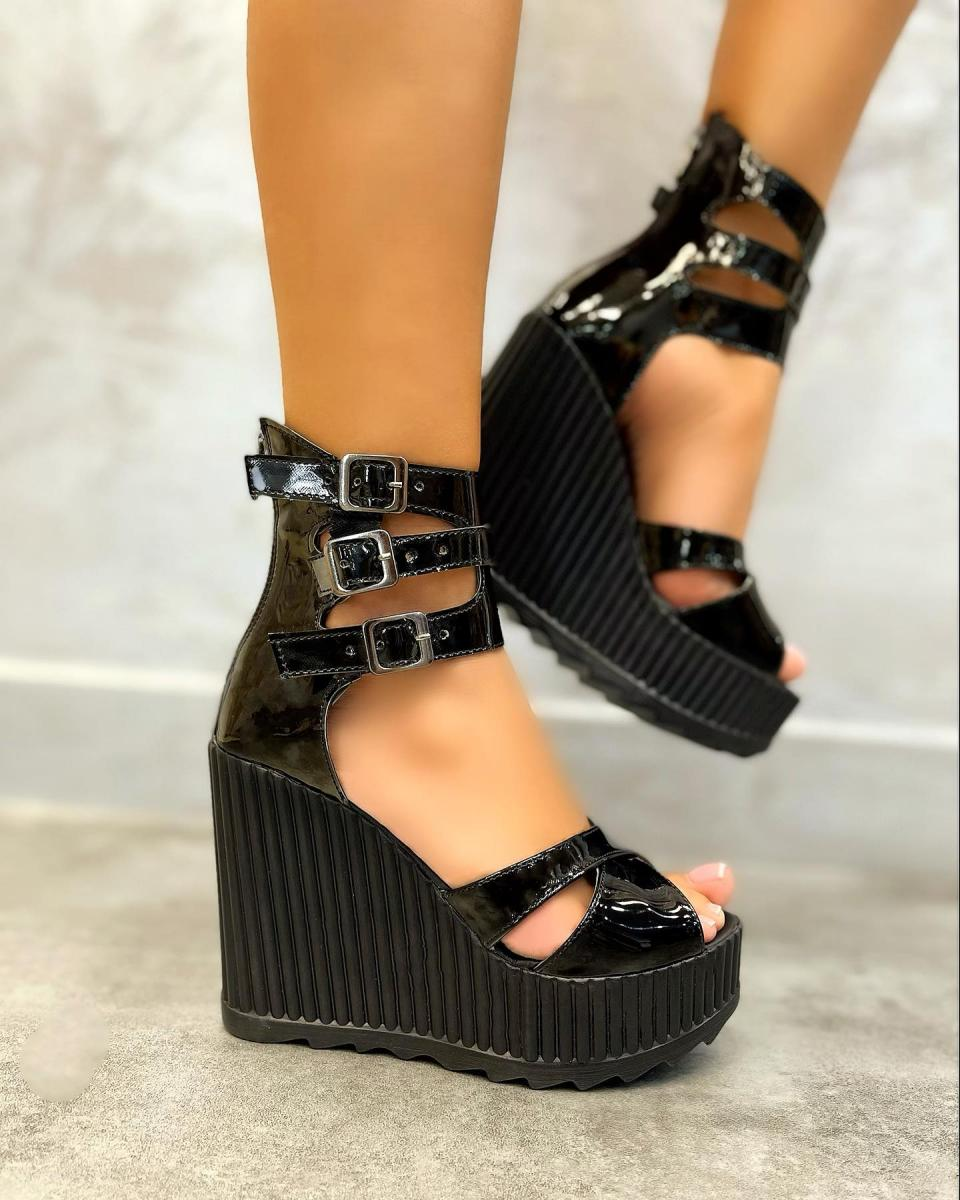 PATENT WEDGE SANDALS WITH BELTS - BLACK