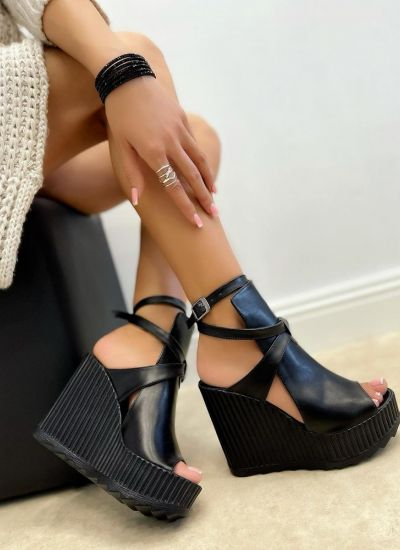 WEDGE SANDALS WITH BELTS - BLACK