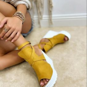VELOUR WEDGE SANDALS WITH BELT - OCHER