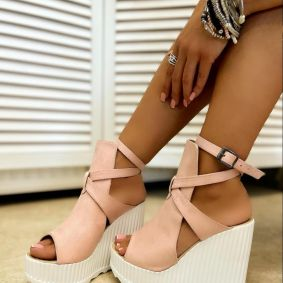 VELOUR WEDGE SANDALS WITH BELT - ROSE
