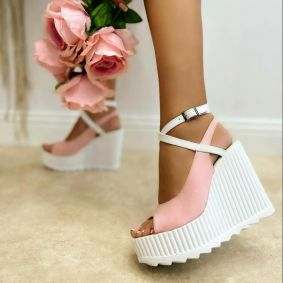VELOUR PEEP TOE WEDGE SANDALS WITH BELTS - ROSE