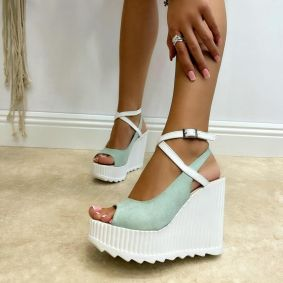 VELOUR PEEP TOE WEDGE SANDALS WITH BELTS - MINT