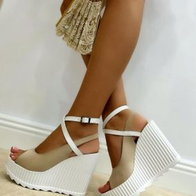 VELOUR PEEP TOE WEDGE SANDALS WITH BELTS - BEIGE