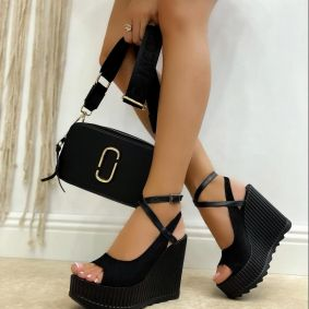 VELOUR PEEP TOE WEDGE SANDALS WITH BELTS - BLACK