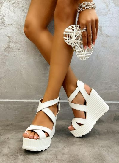 WEDGE SANDALS WITH BELTS - WHITE