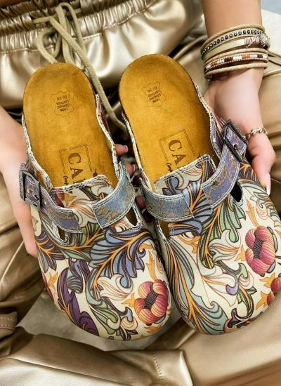 LEATHER CLOGS WITH FLOWER PRINT AND BELT - BEIGE