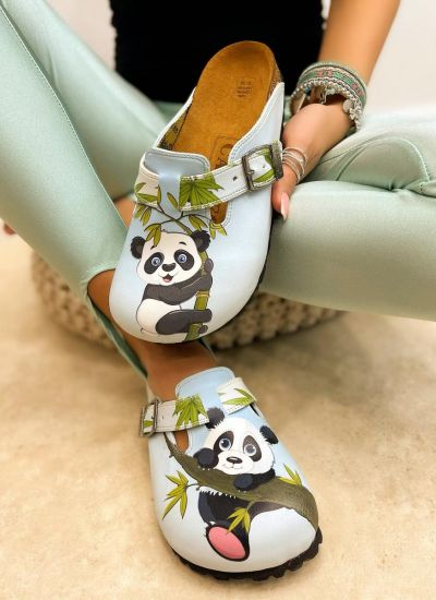 LEATHER CLOGS WITH PANDA AND BELT - BLUE