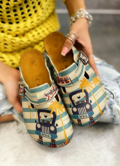 BEEP BEEP LEATHER CLOGS WITH BELT - BLUE/BEIGE