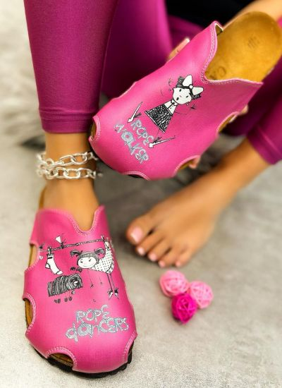 ROPE DANCERS LEATHER OPEN CLOGS  - PINK