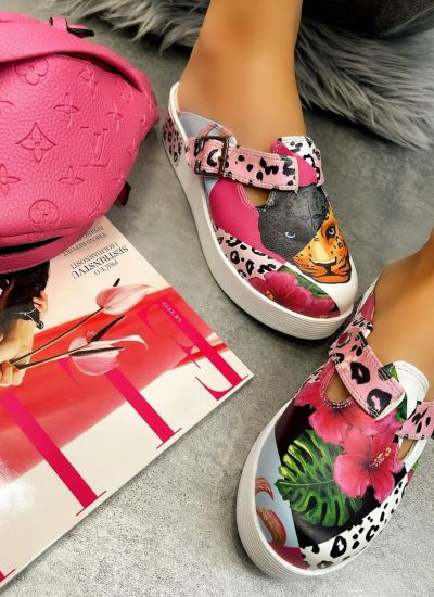 LEOPARD AND FLOWER PRINT CLOGS - WHITE/ROSE