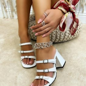THICK HEEL MULES WITH BELT  - WHITE