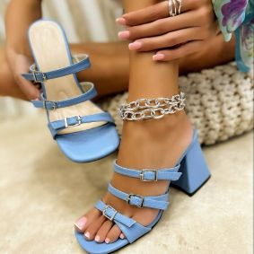 THICK HEEL MULES WITH BELT  - BLUE