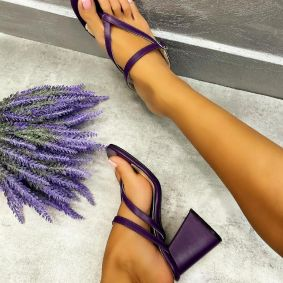 FLIP - FLOPS WITH THICK HEEL - PURPLE