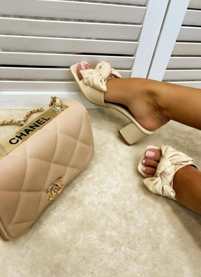 THICK HEEL MULES WITH BOW - BEIGE