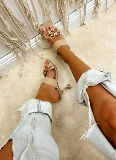 THIN HEEL MULES WITH CHAIN - BEIGE