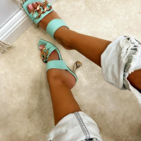 THIN HEEL MULES WITH CHAIN - MINT