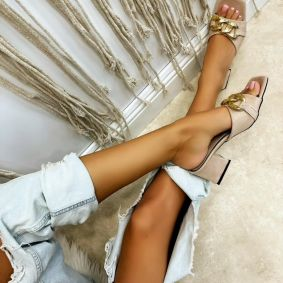 VELOUR THICK HEEL MULES WITH CHAIN - BEIGE